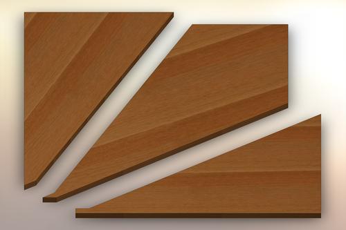 Rift Sawn White Oak Winder Treads cut into three pieces.