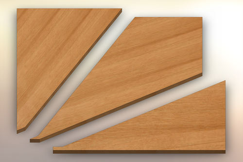 Quarter Sawn White Oak Winder Treads cut into three pieces.