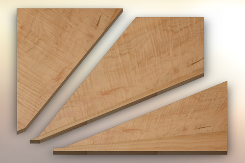 Curly Maple Winder Treads cut into three pieces.