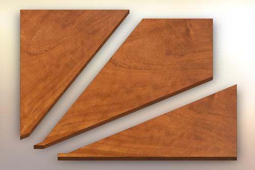 Iroko Winder Treads cut into three pieces.