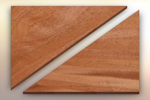 African Mahogany Winder Treads diagonally cut into two pieces.