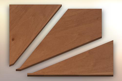 Spanish Cedar Winder Treads cut into three pieces.