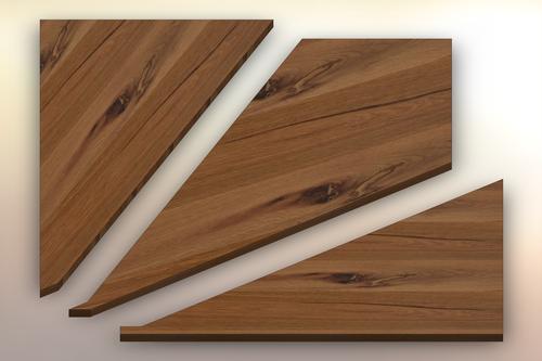 Rustic White Oak Winder Treads cut into three pieces.