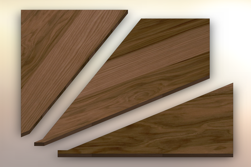 Hickory Winder Treads cut into three pieces.