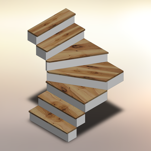 Rustic Hickory Winder Treads