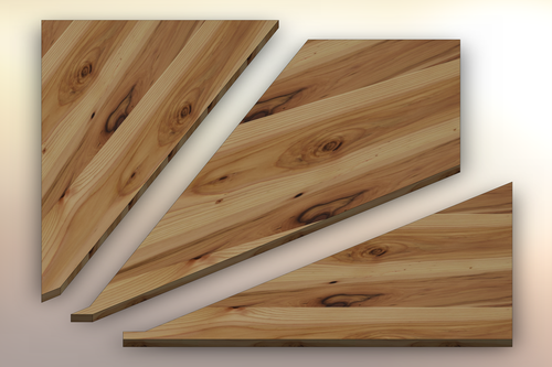 Rustic Hickory Winder Treads cut into three pieces.