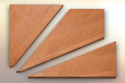Birch Winder Treads cut into three pieces.