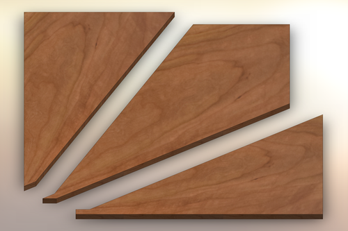 Character Cherry Winder Treads cut into three pieces.