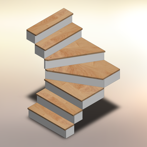 Rustic Maple Winder Treads