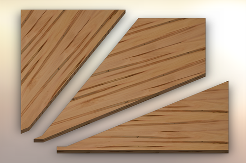 Wormy Maple Winder Treads cut into three pieces.