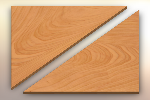 Cypress Winder Treads cut diagonally into two pieces.