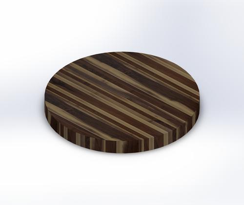 Round Rustic Walnut Edge Grain Butcher Block Table Top