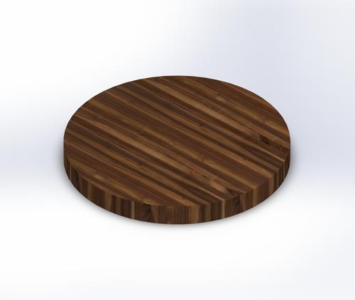 Round Steamed Walnut Edge Grain Butcher Block Table Top