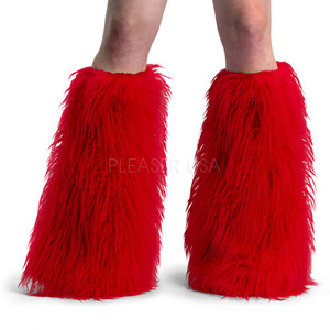 Red Faux Fur Leg Warmers