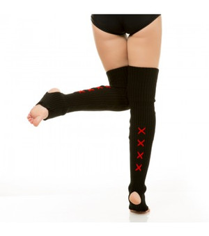 Black & Red Acrylic Leg Warmers 1