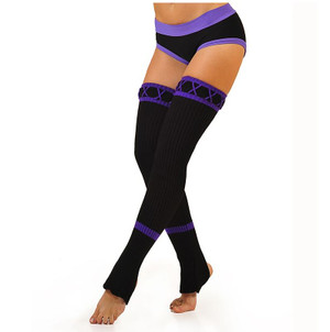 Black & Purple Acrylic Leg Warmers 1