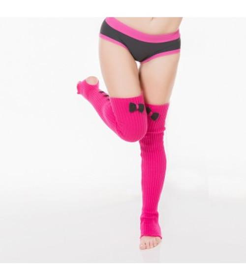 Dark Grey Trimmed Hot Pink Acrylic Leg Warmers 1