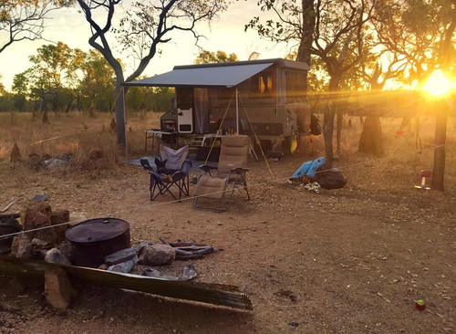 Australian outback campsite with Jayco Penguin Camper Trailer
