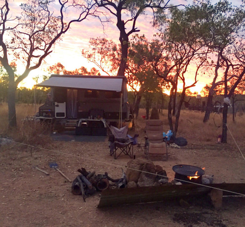 Australian outback campsite with Holly in her chair