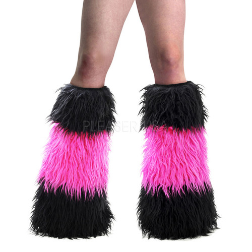 Black and Hot Pink Faux Fur Leg Warmers