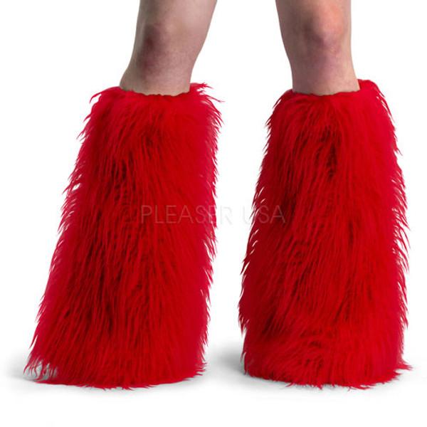 Red Faux Fur Leg Warmers