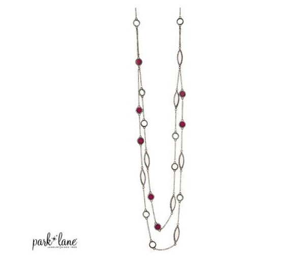 Double Stranded Necklace with Alternating Rhinestone Rimmed Ruby & Ivory Beads & Spheres