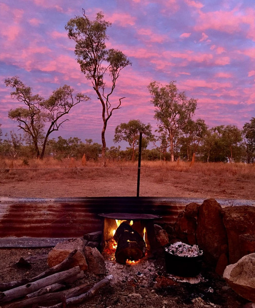 Australian outback campsite at sunset