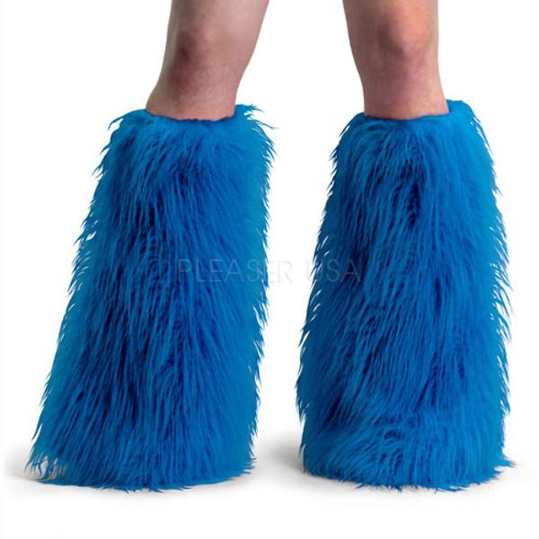 Blue Faux Fur Leg Warmers