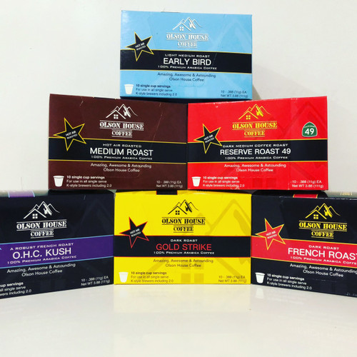 60 count - Variety Pack - all of our roasts- French - Gold Strike - Kush - Reserve Roast - Medium - Early Bird - K style cup-Free ship!
