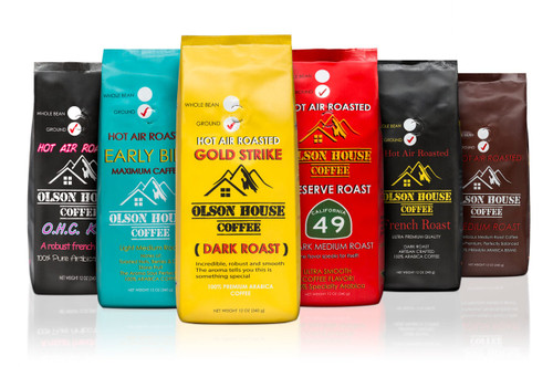 FREE SHIP 4 pack of coffee bean coffee types. 12OZ BAGS of WHOLE BEAN COFFEE