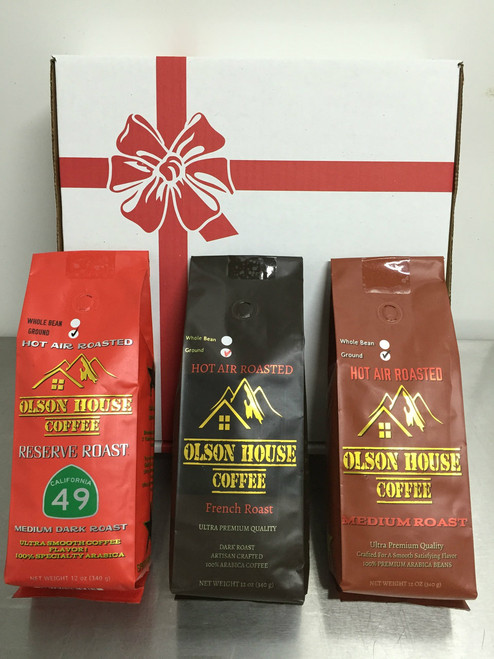 3 pack GROUND coffee gift box. You choose and three by commenting in the notes when ordering.
