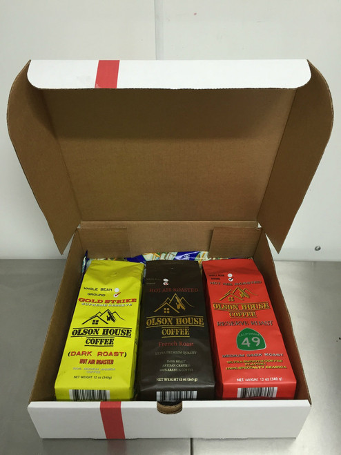 FREE SHIPPING - SPECIAL Coffee Gift Box: 3 pack of a variety of coffee types. *comment in order notes with the coffee types you would like. 12OZ BAGS of WHOLE BEAN COFFEE
