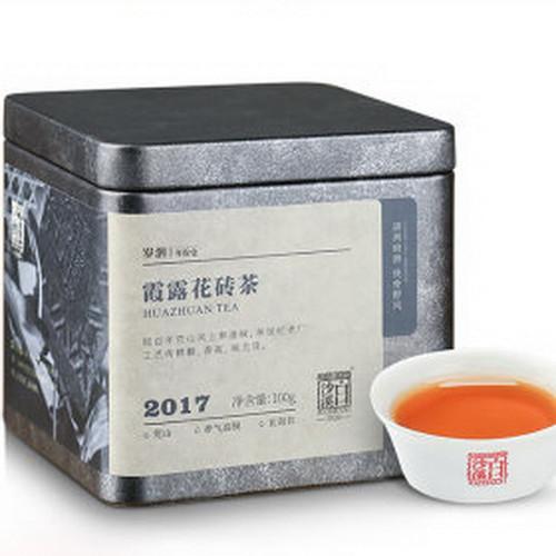 BAISHAXI Brand Xia Lu Flower Brick Tea Hunan Anhua Dark Tea 100g Brick