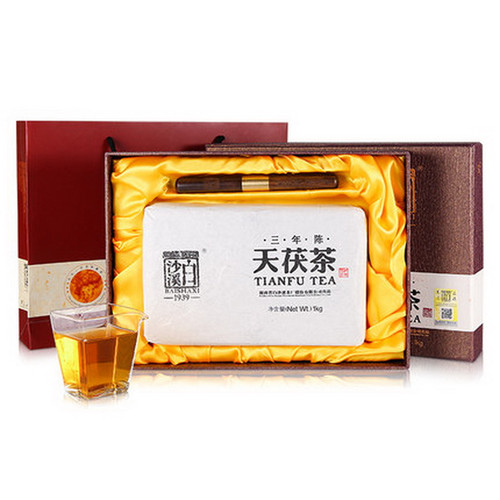 BAISHAXI Brand San Nian Chen Tian Fu Cha Anhua Golden Flowers Fucha Dark Tea 1000g Brick