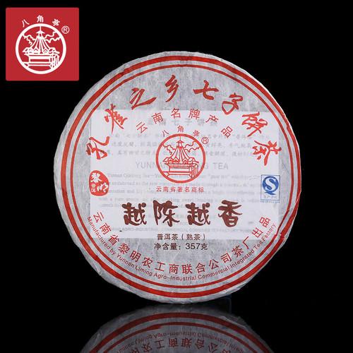 BAJIAOTING Brand Yue Chen Yue Xiang Pu-erh Tea Cake 2012 357g Ripe