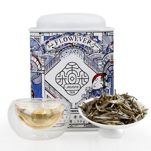 PINPIN TEA Brand Mo Li Xiang Zhen Jasmine Silver Buds Green Tea 50g