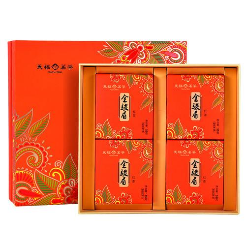 TenFu's TEA Brand Gift Box Jin Jun Mei Golden Eyebrow Wuyi Black Tea 220g