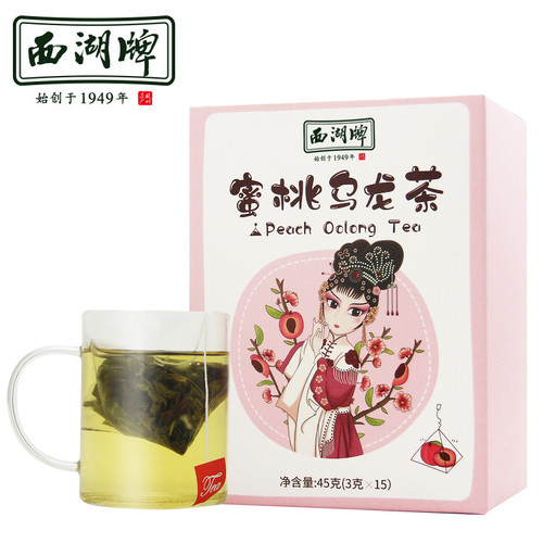 XI HU Brand White Peach Oolong Fresh Oolong Tea with Real Dried Peach Chunks Tea Bags 45g