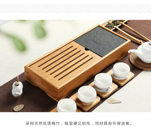 Bamboo Gongfu Tea Serving Tray with Stone Tabletop Teatable Table 39x17cm