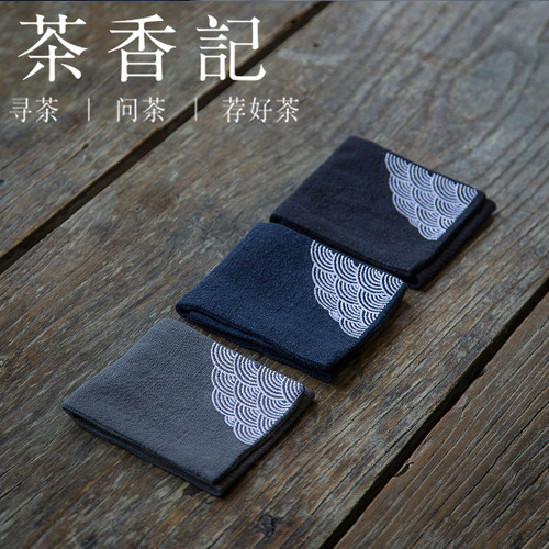 Wave Pattern Professional Absorbent Gongfu Tea Ceremony Cleaning Cloth Table Towel 27x8cm