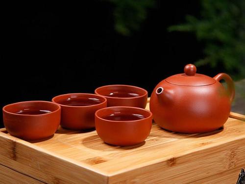 Handmade Yixing Zisha Red Clay Zhuni Xishi Teapot with Four Teacups160ml