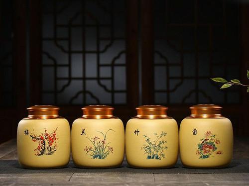 Handmade Yixing Zisha Clay Handmade Canister Jar Container  115x53x135mm