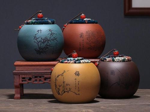 Handmade Yixing Zisha Clay Handmade Canister Jar Container  110x60x100mm