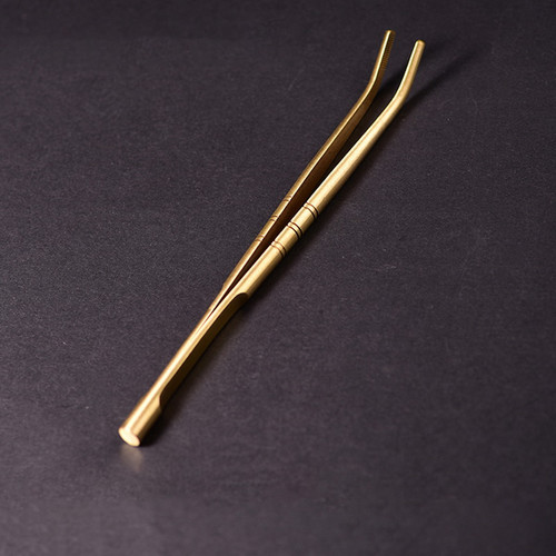 Non-slip Brass Tongs w/t Twisted String Gongfu Tea Utensil