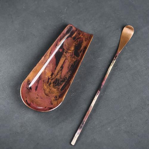 Retro Burn Color Copper Cha He Kungfu Tea Leaves Presentation Vessel & Scoop Set