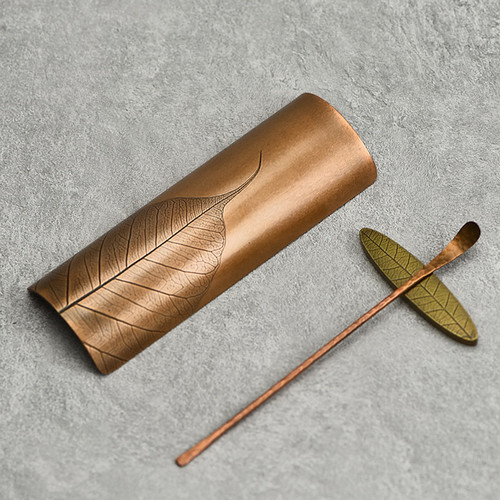 Bodhi Yemai Copper Cha He Tea Presentation Vessel & Scoop Set