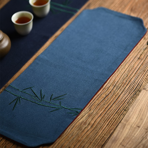 Bamboo Embroidery Cotton Linen Placemat for Gongfu Tea Ceremony