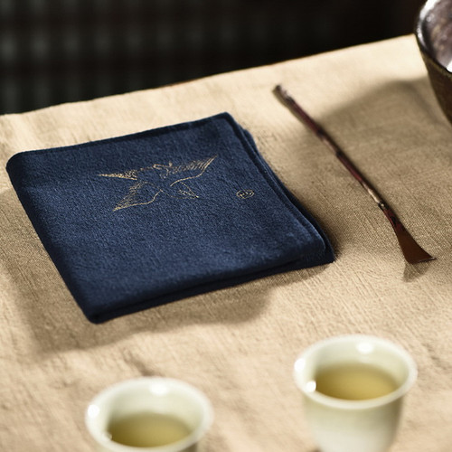 Embroidery Professional Absorbent Gongfu Tea Ceremony Cleaning Cloth Table Towel 24x24cm