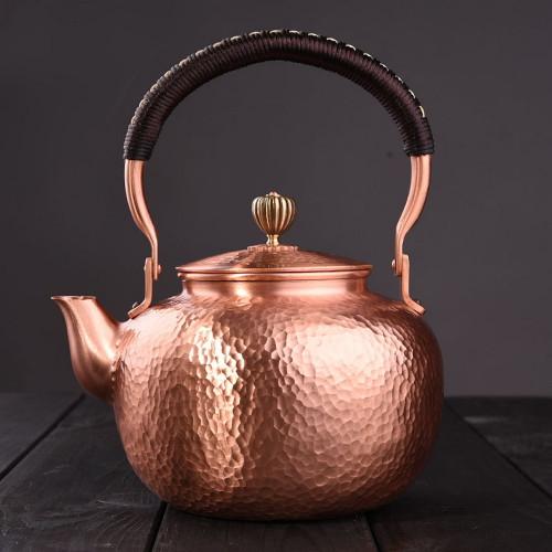 Handmade Loop Handle Copper kettle with Stainless Steel Infuser 1600ml
