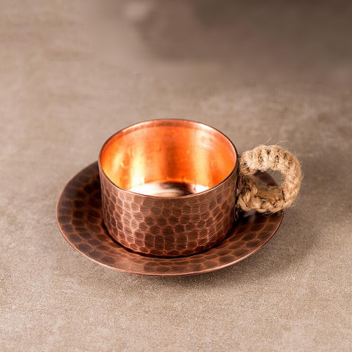 Handmade Copper Teacup with Saucer 90ml